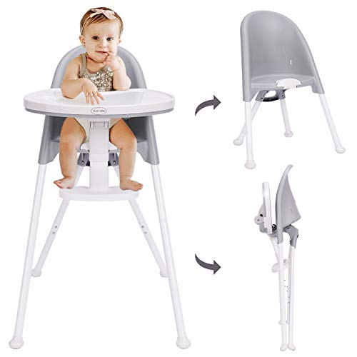 HAN-MM High Chair Folding,One Click fold,Save Space, Detachable Double Tray, Infant Chair, Car Traveling, 3 in 1 Convertible, 3-Point Harness, Adjustable Footrest, Non-Slip Feet, Adjustable Legs