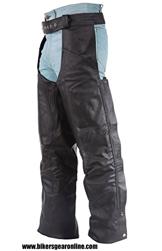MEN'S MOTORCYCLE BLACK LEATHER RIDING CHAP PANTS BRAIDED COW HIDE LEATHER NEW (M Regular)