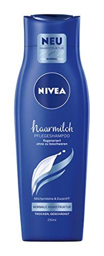 NIVEA 6er Pack Haar-Pflegeshampoo für normale Haarstruktur, 6 x 250 ml Flasche, Haarmilch