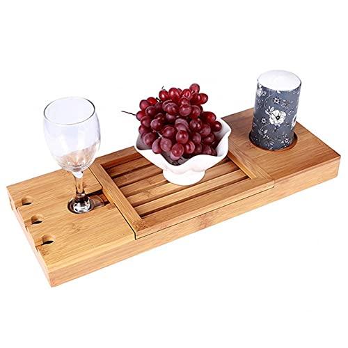 RONGJJ Vassoio per Vasca da Bagno Estensibile in bambù Vassoio per Vasca con Vassoio per Vasca da Bagno per Sapone, Bicchiere da Vino, Asciugamano