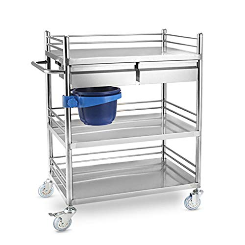 Carrelli per centri medici Carrello multiuso in acciaio inossidabile, rastrelliera a 3 strati - Ruota silenziosa 150 kg / 330 libbre Grande capacità -