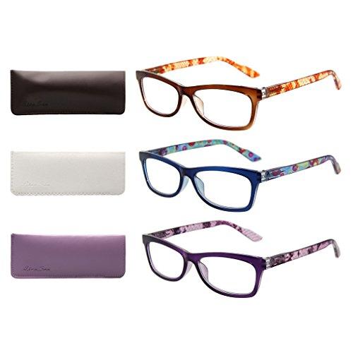 LianSan Desinger 3 Pack Stylish Ladies Reader Spring Hinges Reading Glasses for Women L3706X Purple Brown Blue +2.75 Magnification
