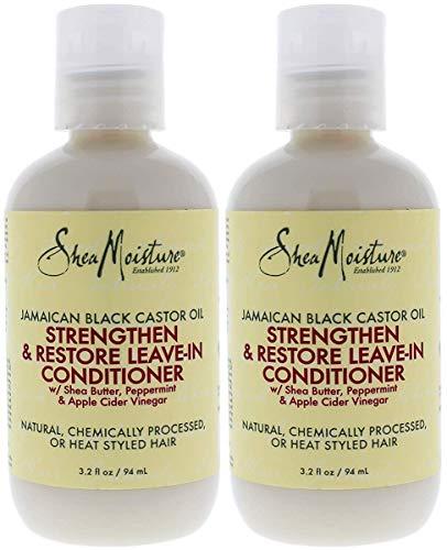 Shea Moisture Jamaican Black Castor Oil Strengthen & Restore Leave-in Conditioner Pack Of 2, 3.2 Oz