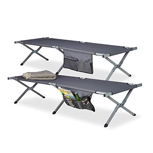 Relaxdays Lit de camp pliable lot de 2 lit camping XXL polyester HxlxP: 190 x 64 x 43 cm, sacoche transport, gris