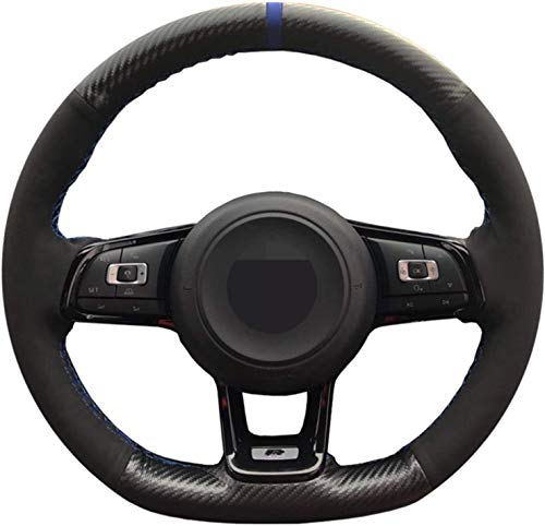 Phcom Pangtyus Car Steering Wheel Cover, For Polo GTI,DIY Hand-Stitched Genuine Leather Suede Steering Wheel Cover