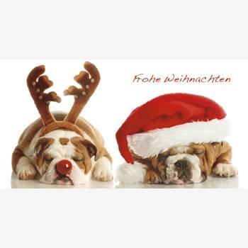 DeCoArt...Weihnachtskarte Xmas aus Puzzleteilen Bulldogge Rentier Weihnachtsmann