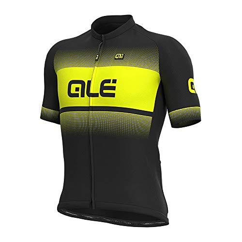 Alé Cycling Solid Blend Kurzarm Trikot Herren Black/Fluo Yellow Größe M 2021 Radtrikot kurzärmlig