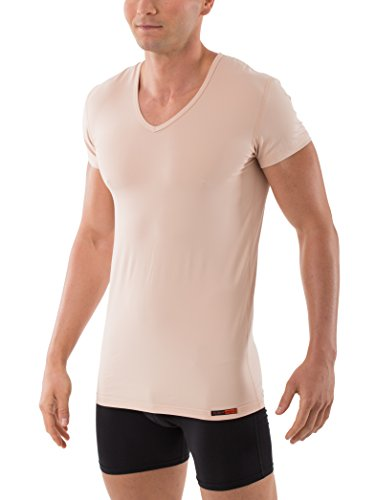 Albert Kreuz V-Unterhemd unsichtbar Business Herrenunterhemd aus Stretch-Baumwolle Kurzarm Hautfarbe Nude 6/L