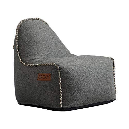 SACKit - RETROit Cobana Junior Grey - Grau Indoor/Outdoor Sitzsack für Kinder. Sessel mit Lehne. Für das Kinderzimmer oder Gaming im Jugendzimmer - Kombinierbar mit einem Hocker