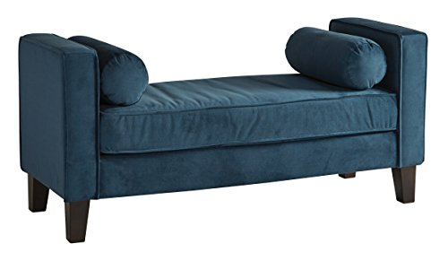 AVE SIX Curves Upholstered Bench with 2 Bolster Pillows and Espresso Finish Wood Legs, Azure Velvet