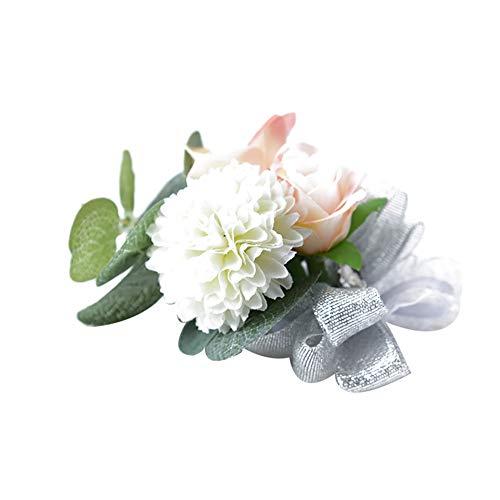 Meiibo 1 Stks Kunstbloemen Boutonniere met Glanzend Lint Elegant Echt Touch Corsage Armband Simulatie Bruiloft Bloemen voor Bruidegom Bruid Bruidsmeisje Groomsmen Wit