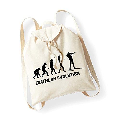bubbleshirt Zainetto in Cotone Organico Biathlon Evolution - Sport - Humor - Idea Regalo - in Cotone...