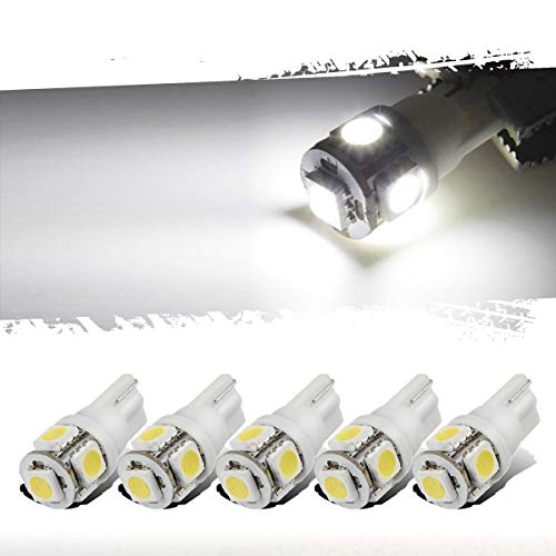 Partsam T10 LED Light Bulbs 5X White 161 168 194 Wedge Base Lights 5-5050-SMD...