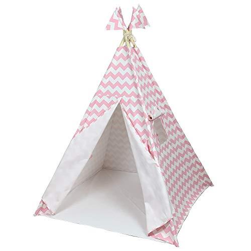 Canicove Tienda Tipi de Lona, algodón de la Mejor Calidad, Postes de Madera sólida y Banderas – para niños y niñas, Interior y Exterior – Teepee Plegable para Jugar – Tipi Indio (Rayas Rosadas)