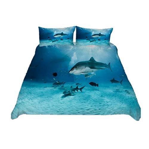 HNHDDZ Bettwäsche Set 3D Ozean Hai Drucken Bettbezug Kissenbezug Mit Reißverschluss Junge Mädchen (Stil 5,Bettbezug 135x200 cm + 1 Kissenbezug 80x80 cm)