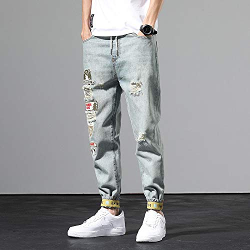 Vaqueros para Jeans Pantalones Vaqueros Rasgados Retro para Hombre, Pantalones Largos Sueltos De Marca Tide, Pantalones Casuales Casuales De