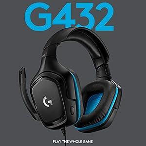 Logitech G 432 kabelgebundenes Gaming-Headset, 7.1 Surround Sound, DTS Headphone:X 2.0, Bügelmikrofon mit Flip-Stummschaltung, Ohrpolster mit Kunstleder, PC/Mac/Xbox One/PS4/Nintendo Switch, Schwarz