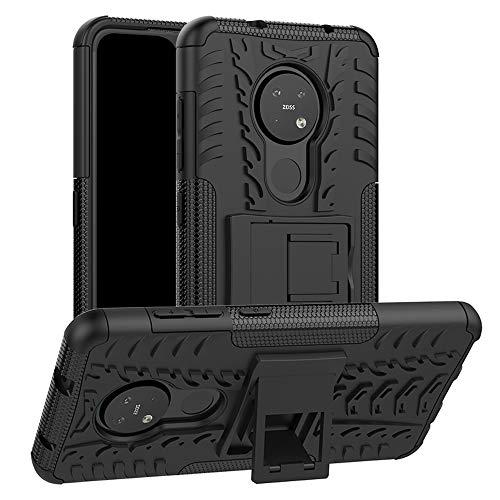 LFDZ Nokia 7.2 2019 Hülle,Abdeckung Cover schutzhülle Tough Strong Rugged Shock Proof Heavy Duty Hülle Für Nokia 7.2 2019 [Not fit Not fit Nokia 7 /Nokia 7.1],Schwarz