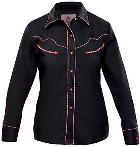 Modestone Women's Long Sleeved Fitted Western Camicia Cowboy Dotted Piping Black
