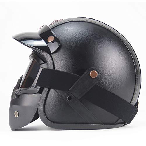 Parcclle Casco de moto de piel retro para adultos, ligero, cómodo, unisex,...