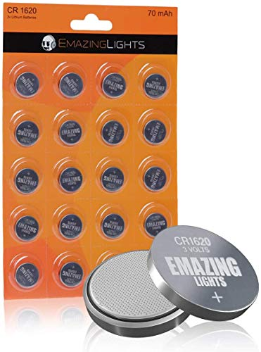 EmazingLights CR1620 Batteries 3 Volt Lithium Coin Cell 3V Button Battery (20 Pack)