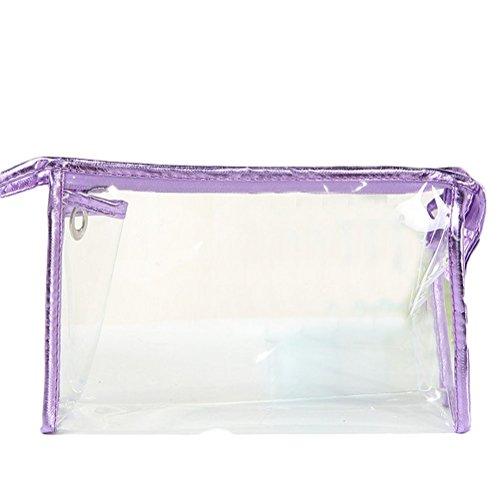 Ruikey Voyage Trousse de Toilette Transparent Unisexe en Cuir Sac fourre-Tout Maquillage Organisateur en PVC Transparent poignée