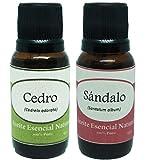 Krisamex Cedro y Sandalo Aceites Esenciales Naturales Aromaterapia 2 Piezas Frasco Difusor Oil Humidificador