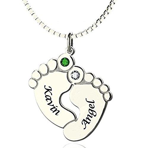 Nombre Personalizado Collar Dos pies bebé Colgante con 2 Nombres y Piedras de Nacimiento, Collar Nombre Personalizado Colgante Plata de Ley Huella de Bebe Cadena Ajustble