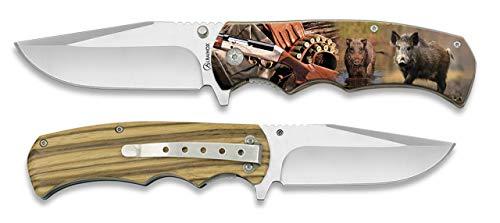 Navaja 3D Grabado cazador Jabalí Hoja 8,8 cm para Caza, Pesca, Camping, Outdoor, Supervivencia y Bushcraft Albainox 18257+3D012 + Portabotellas de regalo