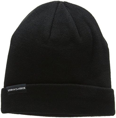 Urban Classics Unisex Basic Flap Beanie Strickmütze, Schwarz (Black 00007), One Size