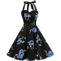 Dresstells® Halter 50s Rockabilly Polka Dots Audrey Dress Retro Cocktail Dress BlueFlower S