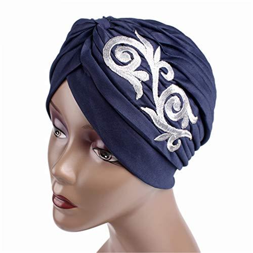 NgMik Gorras de Turbante para Mujeres 2pcs Retro Elegante Sombrero Indio Sombrero Sombrero Turbante para Mujeres y niña Gorante de Gorra Turbante Plisado (Color : F, Size : One Size)