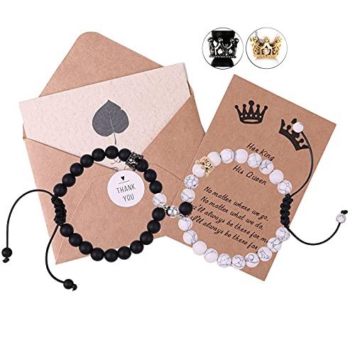 King&Queen Crown Magnetic Couple Bracelets Adjustable Black Matte Agate Distance Matching Bracelet Set His and Her Relationship 8mm Beads Bracelet (Black&White 2)