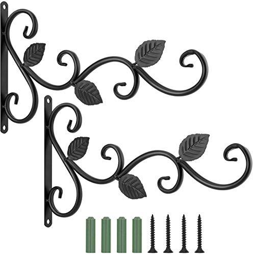 Richaa 2 Piezas Soporte para Plantas Colgantes , Ganchos para Colgar en la pared de Hierro Retro con 4 Tornillos de Montaje para Comedero de Pájaros, Macetas, Decoración del Jardín del Hogar