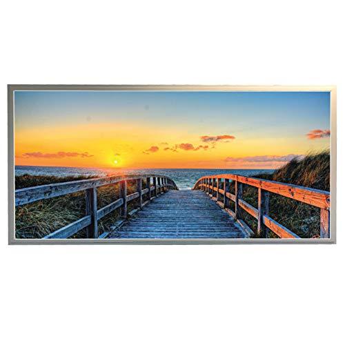 LED Leuchtbild, Wandbild Bild mit Alu Rahmen, 120 x 60 cm Strand mit Brücke, Sonnenuntergang
