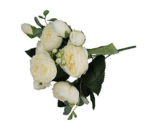 GMMH Pfingstrosen Bund 29 cm Seidenblumen Kunstblumen 9 Blüten Blumenstrauß (weiß)