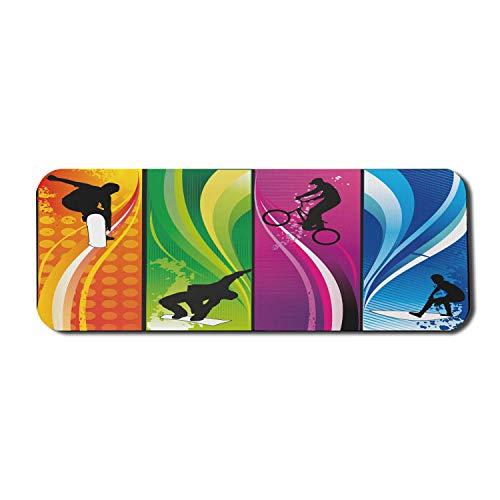 Sport-Computer-Mauspad, extreme Aktivität mit Silhouetten Lebendige Farben Surfen Bmxing Snowboarden, Rechteck Rutschfeste Gummi-Mauspad Groß Mehrfarbig