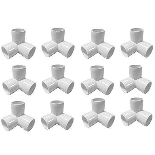 """Linksworld PVC Connector PVC Fitting Tee PVC Fitting Elbow UV Treated for Greenhouses Hoops Green Thumb Classroom Greenhouse Plant Support Garden Stakes Grow Tunnel (1/2"""" 3WAY 12pcs)"""