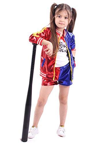 YOSICIL Mädchen Damen Harley Quinn Kostüm Set aus Sexy Kleid Jacke Hose T-Shirt Handschuhe Verrücktes Harlekin-Kostüm Suicide Squad Kostüm Selbstmord Squad Cosplay Kostüm Outfit Rot Blau