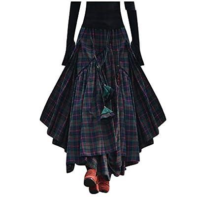 Women Loose Plaid Print Fringe Irregular Waiste Skirt Fashion Party Skirt Green