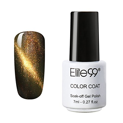 Elite99 UV LED 3D Cat Eye Effect Nail Gel Polish Magnetic Soak Off Varnish 9901 Black Brown with Gold Eye