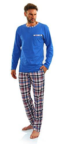 Sesto Senso Herren Schlafanzug Lang Pyjama 100{cf47812641f2db0ebfc11aeda31d1f3bbbaf81496ef42688d9d62a405c5e6b1b} Baumwolle Langarm Shirt mit Tasche Pyjamahose Zweiteilig Set Nachtwäsche Blau Kariert XXL Jasiek 2243/09