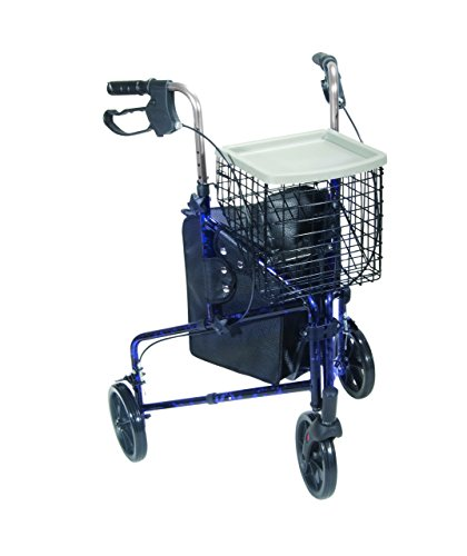 Drive Medical Winnie Lite Supreme Aluminum Three Wheel Rollator, Flame Blue