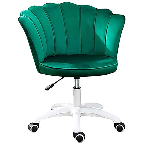 PLAYH Home Dressing Chair, Ergonomischer Einfacher Bürostuhl, Bequemer Samtstoff, Moderner Verstellbarer Drehstuhl Für Die Wohnzimmer-Schlafzimmerbar (Color : Green)