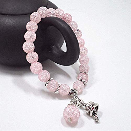 Plztou Stone Bracelet Women,7 Chakra Natural Stone Beads Pink Crack Crystal Elastic Bangle Handbell Pendant Jewelry Yoga Energy Pray Charm Diffuser Gift For Couple
