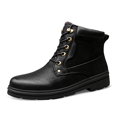 Fashion Tobillo de los Hombres Boot Daily Winter Soft Y Light Fleece Cálido Cálido Top Top Boot (Color : Black, Size : 45 EU)