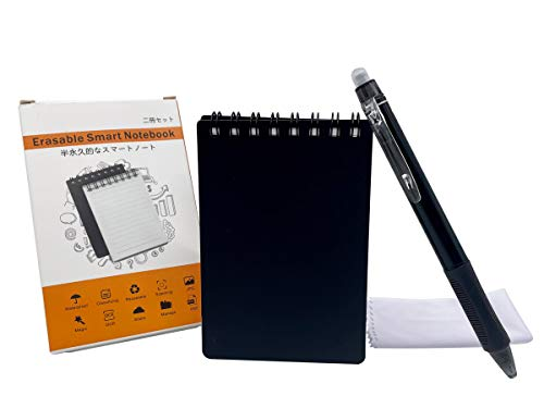 Cuaderno inteligente reutilizable mini borrable impermeable con 2 bolígrafos borrables (3 x 4 pulgadas)