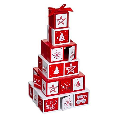 Déco Noël - Calendrier de l'avent durable en bois - Forme Pyramide de paquets