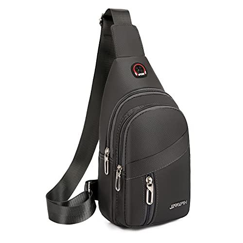 Yerchic Sling Bag Small Crossbody Bolso de pecho con agujero para auriculares hombres mujeres monedero para viajes Outing Deportes