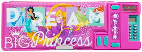 Astuccio Scuola Rosa Fucsia Disney Princess 3 Scomparti Con Principessa Cenerentola Jasmine Aladdin Rapunzel Tiana Ariel | Idea Regalo Per Bambina Prodotto Ufficiale